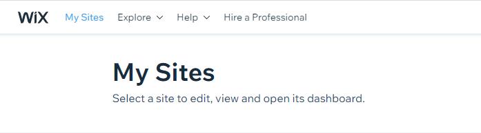 Wixin MySites-linkki löytyy sivun ensimmäisestä valikosta.